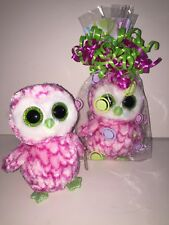 TY BUBBLY PINK OWL BEANIE BOOS**CLAIRES**-NEW, MINT TAG*HARD TO FIND*SO PRETTY*