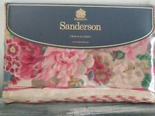 Sanderson Twin Flat Sheet 200 Luxury Percale Rose & Peony