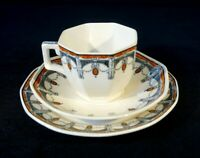 Beautiful Royal Doulton Art Deco Claremont Trio, Orange, Circa 1912