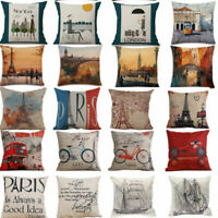 Eiffel Tower Cotton Linen Throw Pillow Cover Sofa Car Cushion Cover Home Fashion