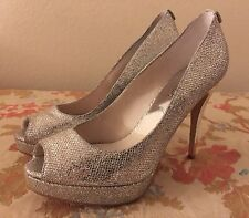 New Michael Kors Women 7.5 Open Toe High Heels Silver Colors Shoes Bling