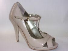 Guess Womens 6 M High Heel Beige T Strap Peep Toe Stiletto Platform Shoes Buckle