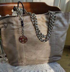 Gorgeous Furla Tan Leather Handbag Large Tote Shopper Purse Silver Chain Handles