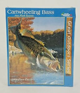 "White Mountain 1000 Piece Puzzle ""Cartwheeling Bass"" Mark Susinno Great Outdoors"