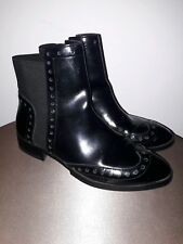Zara Black Slip On Brogue Ankle Boots Size 7 (40)