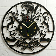 LARGE BARBERSHOP CLOCK Wood Wall Decor Hairdresser Barber Clock Gifts Black Deco