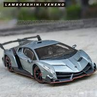 1:24 Lamborghini Veneno Super Car Model Diecast Toy Vehicle Collection Gift Gray