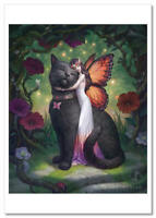 Cute Furry Funny Kitty Cat MOUSE planting flowers  Modern Postcard ARTIST Joy