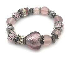 """Glass Bead Heart Bracelet Pink Crystal Silver Plated Metal Charms Stretch 8"""" New"""