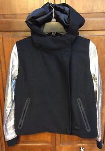Nike Women M Destroyer Varsity Jacket Wool Leather Coat Black $450 632068 11