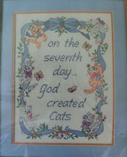 """Stamped Cross Stitch Kit Cat Saying Picture On 7th Day God Created Cats 12""""x16"""""""