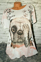 Italy New Collection Long Oversized T-Shirt Mops Hund  36 38 40 42 44 blogger