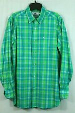 Southern Tide Classic Fit Bright Green Plaid Men's S Button Down Shirt Fish Logo