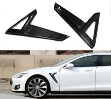 For Tesla Model S 2014-2017 P85D Light Trim Carbon Fiber Fender Side Gril
