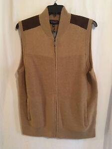 Roundtree & Yorke Men Full Zip Sweater Vest Sz S L XL Tan Suede Shoulder NWT