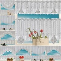 2PCS Lace Coffee Cafe Window Tier Curtain Set Kitchen Dining Room Home Decor Hot