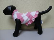 NWT I SEE SPOT Pink White Zig Zag Stripe Fleece with Ruffle Skirt Dog Puppy XS