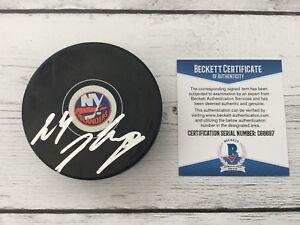 Joshua Josh Ho Sang Signed Autographed New York Islanders Puck Beckett BAS COA a
