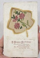 Vintage Post Card Unusual Birthday 2 Layer with Needlework Flowers 1913