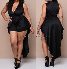 Plus Black Hi Lo Cascade Peplum Romper Dress Bodysuit Jumpsuit Dance Clubwear