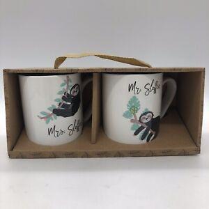 Sloth Coffee Tea Mugs Two Cups Set Mr & Mrs Sloffee NEW