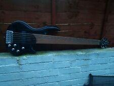6 String Fretless Bass Guitar Metallic Black Sparkle Finish