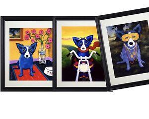 George Rodrigue BLUE DOG Mardi Gras (3pc) Art Framed ~trilogy
