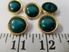 New listing Vintage Buttons Set Of 5 Green Gold Metal Tuz239 Last!