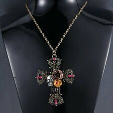 Fashion Bronze Crystal Cross Flower Skull Chain Sweater Pendant Necklace Jewelry