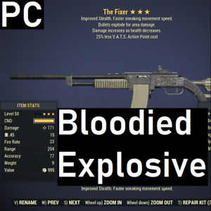 [PC] GODROLL Bloodied Explosive Fixer 25% less VATS AP Cost Fallout 76 BE25