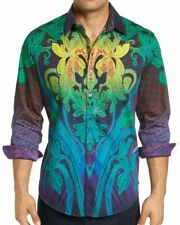 Robert Graham Bold Ombre Floral Embroidery Mens Rare L Large Shirt NEW $298