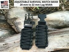 20 22 Black Adjustable Survival Paracord Watch Band Replacement Casio + others