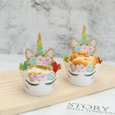 24Pcs Cute Unicorn Cupcake Cake Wrappers Toppers Birthday Party Cake Decor Gift
