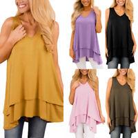 Fashion Women Casual Sleeveless V-Neck Loose Tunic Tank Top Blouse T-Shirt New