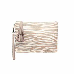 Carolina Leather Masai Mara Clutch Animal Almond Zebra rrp $139.99 NWT
