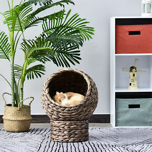 PawHut Woven Banana Leaf Elevated Cat Bed House Basket Cushion 42x33x52 cm Grey