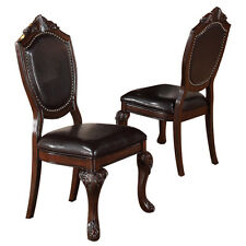 2 PC Formal Dining Side Chair Decor Foot Upholstered Faux Leather Seat Espresso