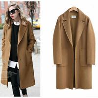 2019 Fashion Women's Wool Blend Long Coat Loose Lapel Winter Overcoat Outwear