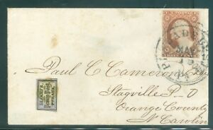 US 10a 3c 1851-57 COPPER BROWN 2 LINE FRAME ON COVER