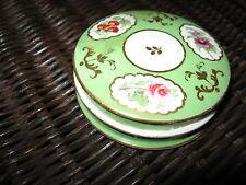 ANTIQUE DRESSER DISH Jar Porcelain Handpt Flowers Cold Cream Vintage Trinket Box
