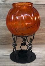 PARTYLITE Skeletons w Pumpkin Jack-O-Lantern Globe Halloween Candle Warmer Tea
