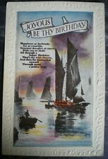 POSTCARD JOYOUS BE THY BIRTHDAY - EMBOSSED SERIES NO 309 YACHTS