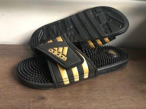 Adidas Adissage Men's Black And Gold Massage Slides Size 39/6