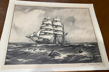 Gordon Grant Pencil Signed Etching Seascape Sailing Clipper Dolphins Print
