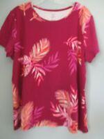 Croft & Barrow Women's Size XL 100% Cotton Floral Short Sleeve Blouse