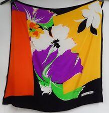 """BELLISSIMO CHRISTIAN DIOR Sciarpa 100% SETA brillante floreale su nero Francia 31"""" x 32"""""""