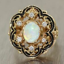 Antique Vintage Estate 14k Yellow Gold 1.75ctw Opal & Diamond Ring