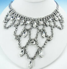 """FOREVER 4VR by Fallon Silver-Tone Princess Crystal Bib NECKLACE 18"""""""