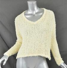 J BRAND MARTHA PULLOVER Womens Ivory Cotton V Neck Knit Sweater Cardigan XS NEW