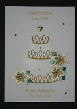 HANDMADE PERSONALISED CAKE AND FLOWERS WEDDING DAY CARD